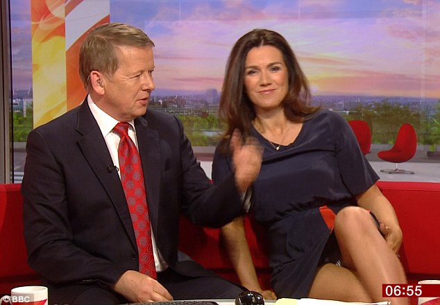 The 42-year-old TV presenter gave those at home more than they'd bargained for when she inadvertently offered a cheeky glimpse of her underwear as she crossed her legs on the sofa