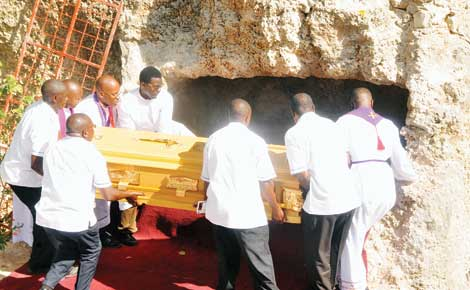 Archbishop Boniface Lele laid to rest in tomb carved out of coral rock