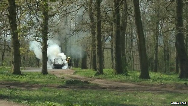 Family's safari terror as car catches FIRE in middle of LION enclosure